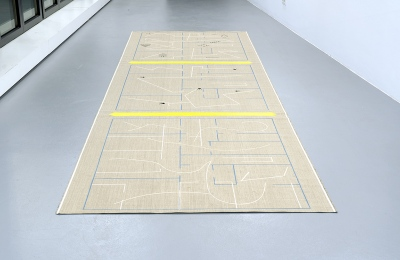 Untitled (Oderberger Strasse 10/#1), 2017, Linen, Gouache, Acrylic, 150 x 572 cm