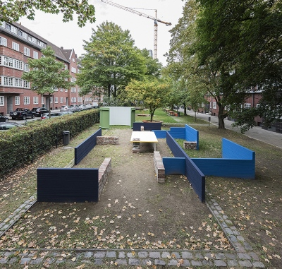 Our House, Work in Public Space, Hamburg, 2018, Bricks, Wood, Corrugated Iron, Color, Concrete
